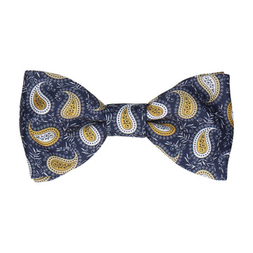 Gold Yellow Floral Paisley Bow Tie