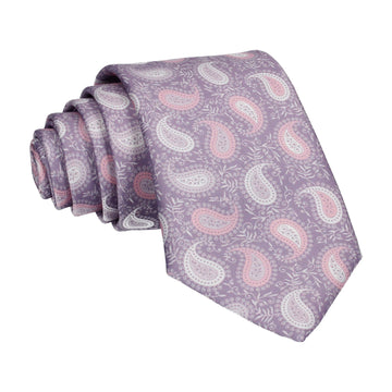 Pink & White Floral Paisley Lilac Tie