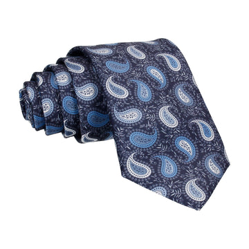 Blue & White Floral Paisley Navy Tie