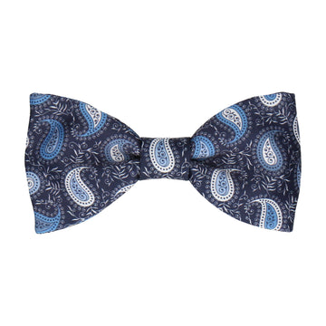 Blue & White Floral Paisley Navy Bow Tie