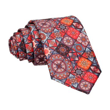 Dark Colourful Mosaic Tile Patchwork Tie