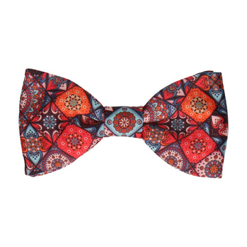 Dark Colourful Mosaic Tile Patchwork Bow Tie