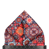 Dark Colourful Mosaic Tile Patchwork Pocket Square