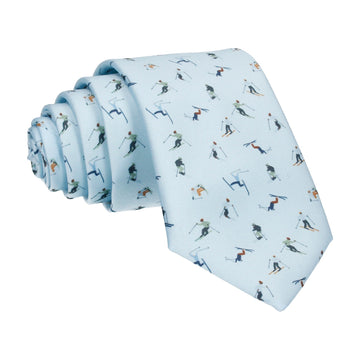 Ski Slope Pale Blue Skiers Tie