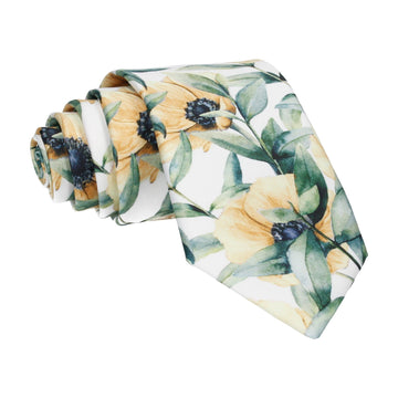 Large Yellow Anemone Print Tie