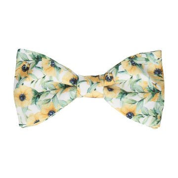 Yellow Anemone Flower Bow Tie