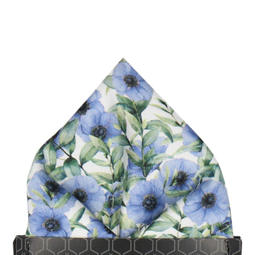Blue Anemone Flower Pocket Square