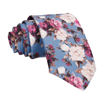 Carnations Blue Floral Tie