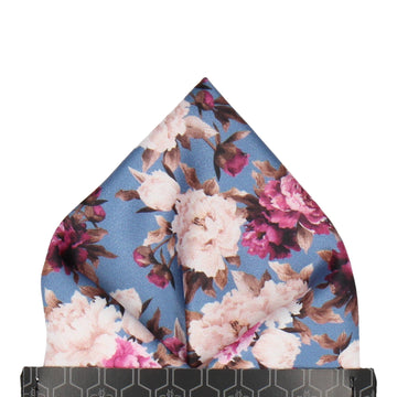 Carnations Blue Floral Pocket Square