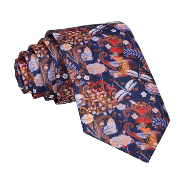 Dragonfly Floral Orange Indigo Tie