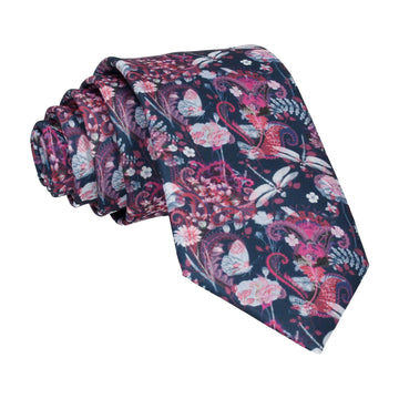 Dragonfly Floral Pink Navy Tie