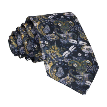 Dragonfly Floral Navy Gold Tie