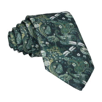 Dragonfly Floral Jungle Green Tie