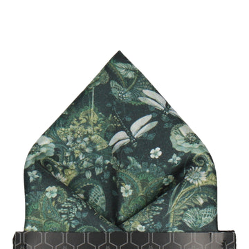 Dragonfly Floral Jungle Green Pocket Square