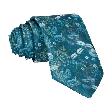 Dragonfly Floral Teal Green Tie