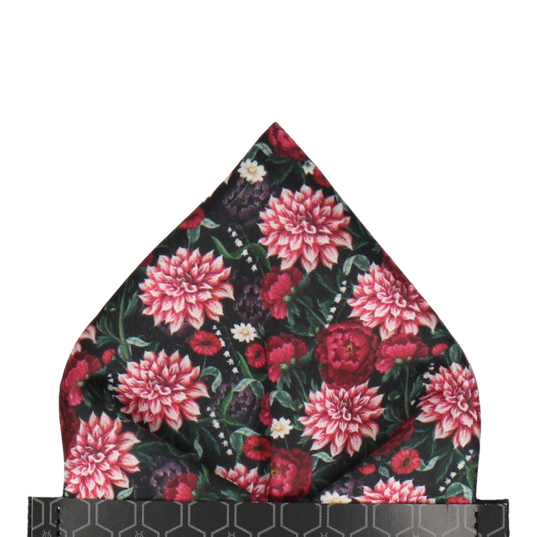 Peony & Dahlia Red Flowers Pocket Square