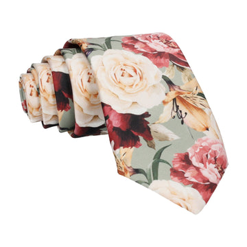 Lily Rose Bouquet Sage Green Tie