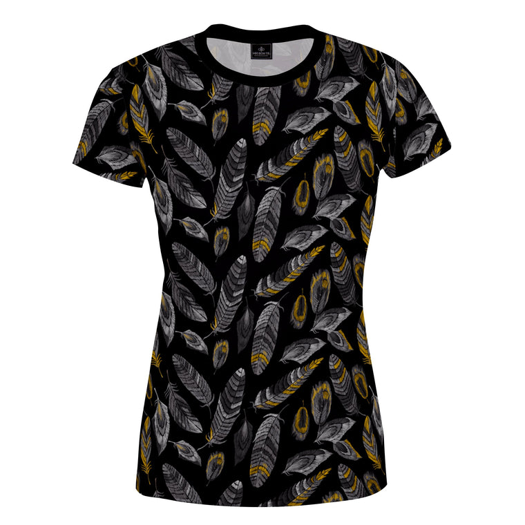 Feather Print Grey & Yellow Women's T-Shirt