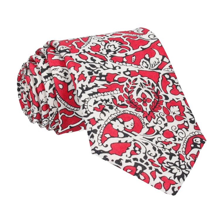 Red Lagos Laurel Liberty Cotton Tie
