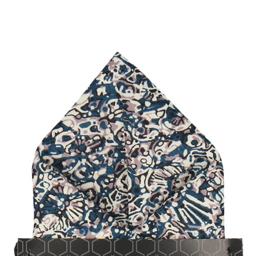Blue White Zoolites Liberty Cotton Pocket Square