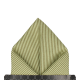 Green Fine Stripe Cotton Pocket Square