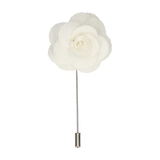 IVORY TEXTURED ROSE LAPEL PIN