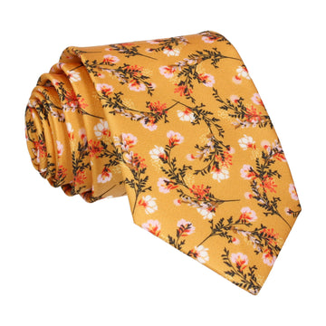 Dark Yellow Japanese Flower Tie