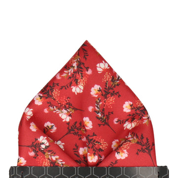 Red Asian Floral Wedding Pocket Square