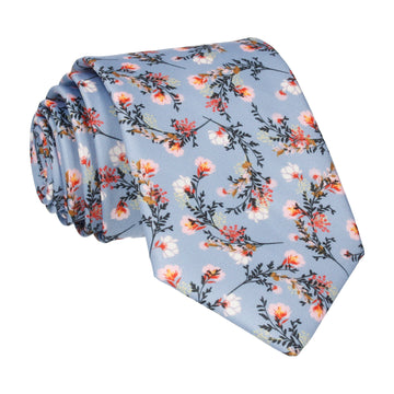 Dusty Blue Japanese Floral Tie