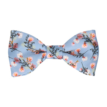 Dusty Blue Japanese Floral Bow Tie