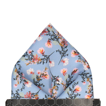 Dusty Blue Japanese Floral Pocket Square