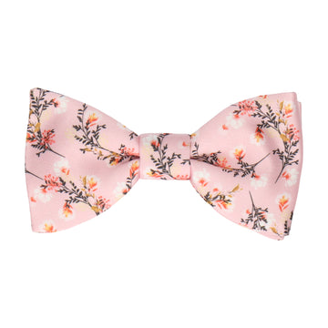 Pale Pink Wedding Floral Bow Tie