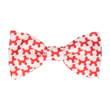 White & Red Balloon Dogs Bow Tie