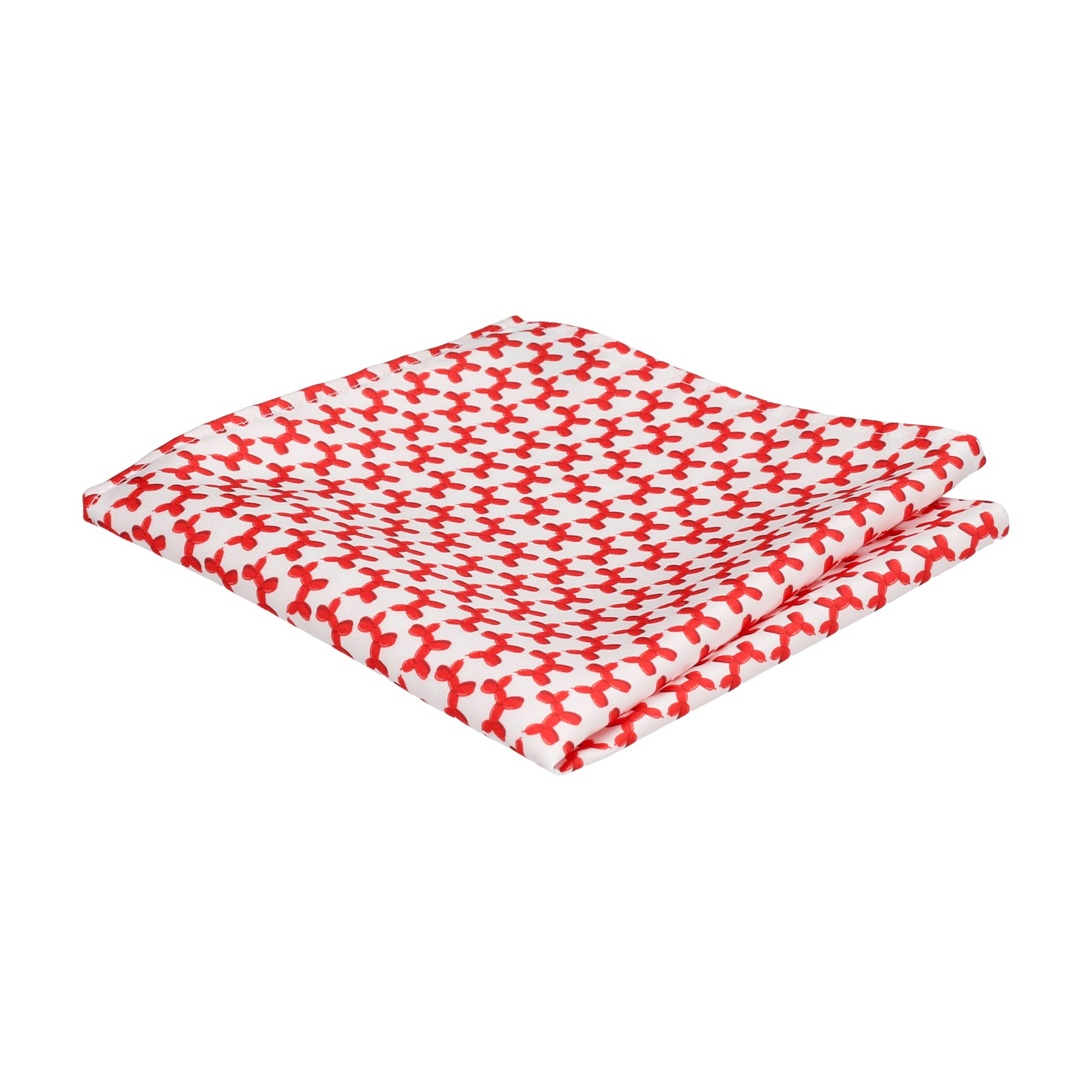 White & Red Balloon Dogs Pocket Square