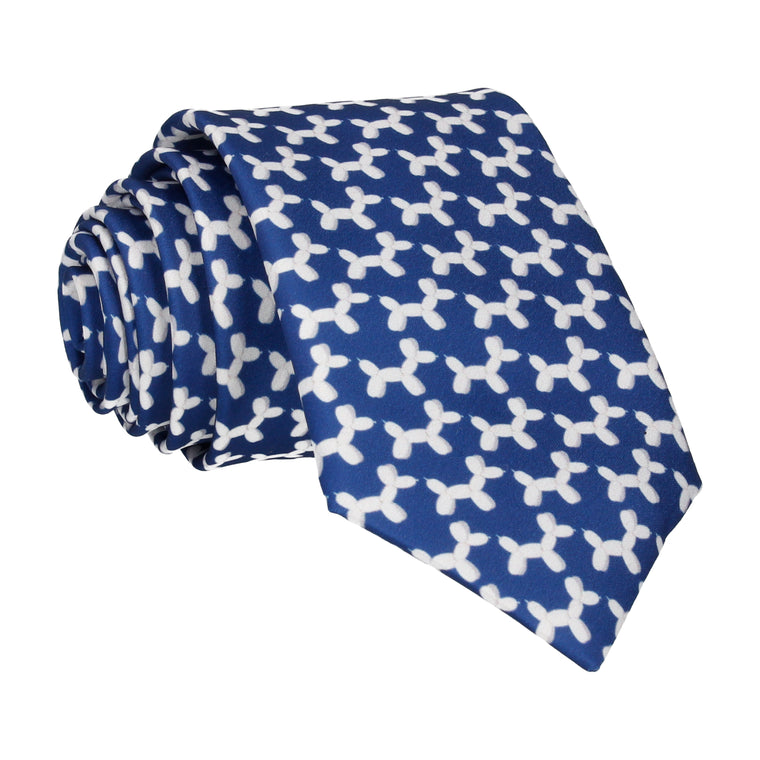 Blue & White Balloon Dogs Tie