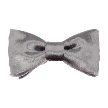 Silver Crushed Velvet Bow Tie