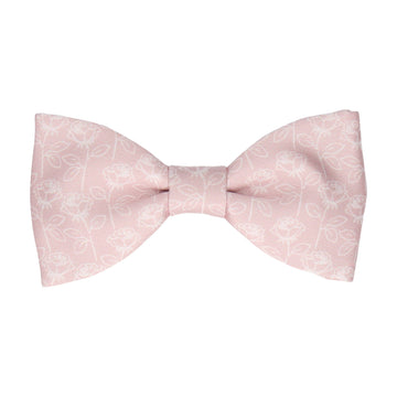 Dusky Pink Stencil Roses Wedding Bow Tie