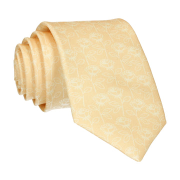 Soft Yellow Stencil Roses Wedding Tie