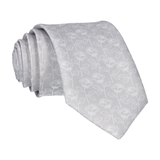 Grey Silver Stencil Roses Wedding Tie