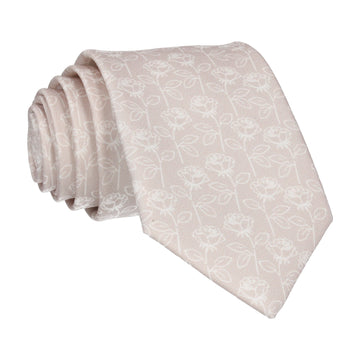 Oyster Champagne Stencil Roses Wedding Tie