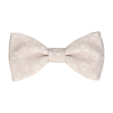Oyster Champagne Stencil Roses Wedding Bow Tie