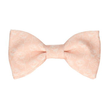 Light Peach Stencil Roses Wedding Bow Tie