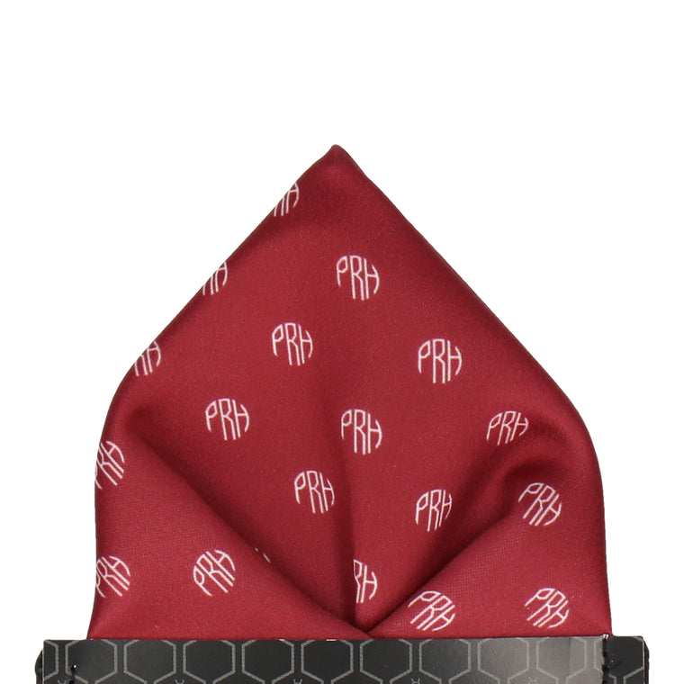 Circular Monogram Burgundy Pocket Square (Personalised)