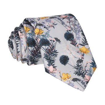 Grey Floral Summer Wedding Tie