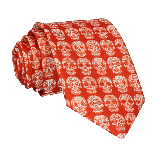 Mini Sugar Skulls Orange Tie