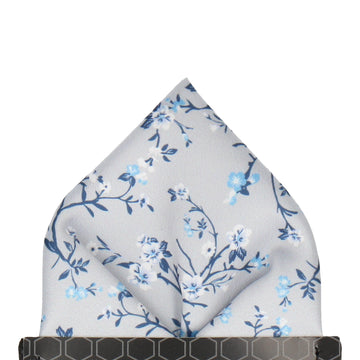 Platinum Grey Blossom Floral Pocket Square