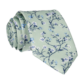 Light Green Blossom Floral Tie