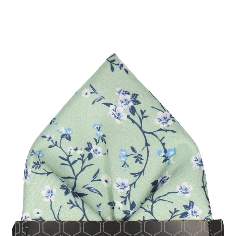 Light Green Blossom Floral Pocket Square