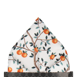 Orange Tree Orchard White Pocket Square
