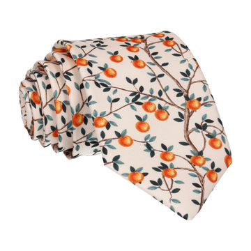 Peach Orchard Orange Tree Tie
